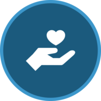 circle icon of a hand and heart