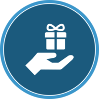 circle icon of a hand and gift