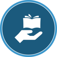 circle icon of a hand and book