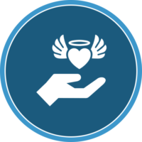 circle icon of a hand and heart with wings