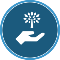 circle icon of a hand and tree