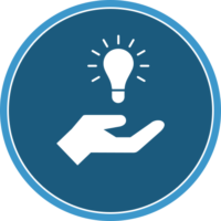 circle icon of a hand and lightbulb